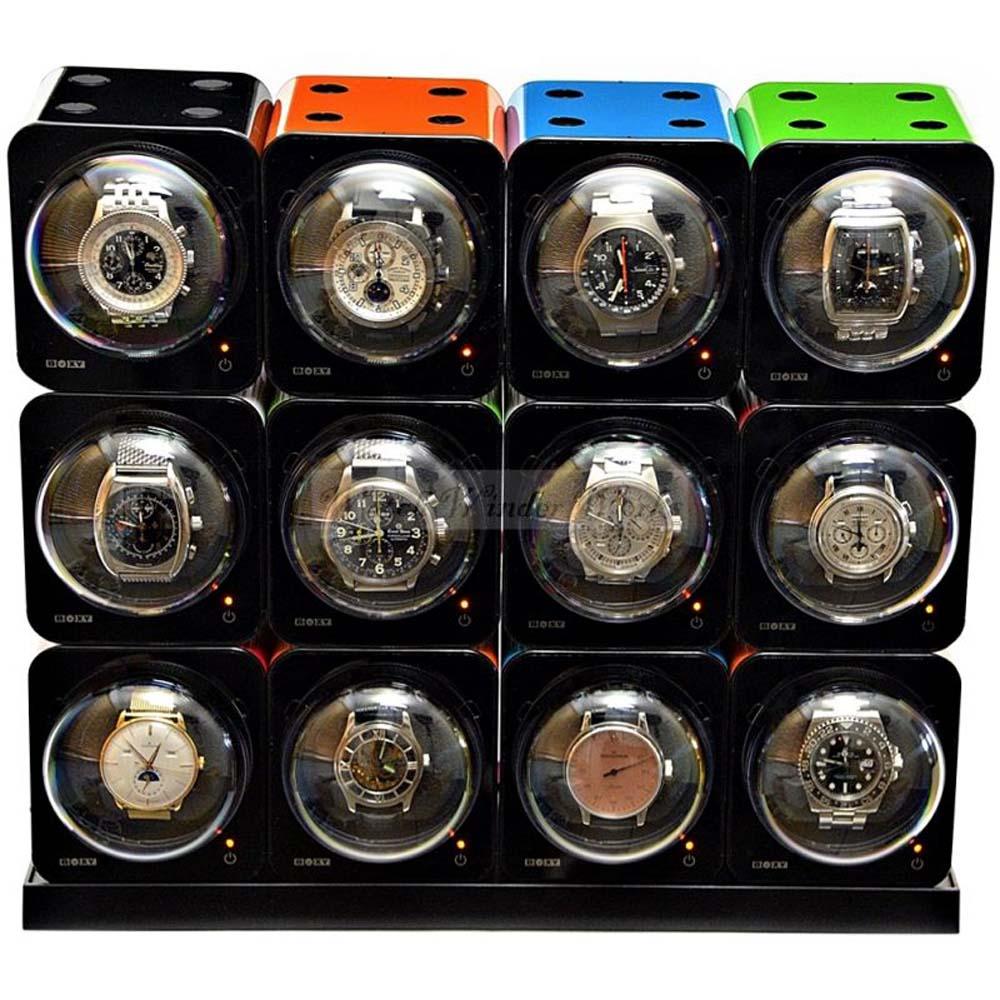 Fancy Brick 12x Automatic Watch Winder system-model: 12FB-E4-CLRS -BRILLIANT!