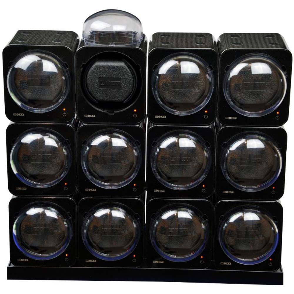 BOXY CARBON FIBRE LOOK Fancy Brick Modular Automatic Watch Winder System 12x: 12FCF-12E4 Brilliant