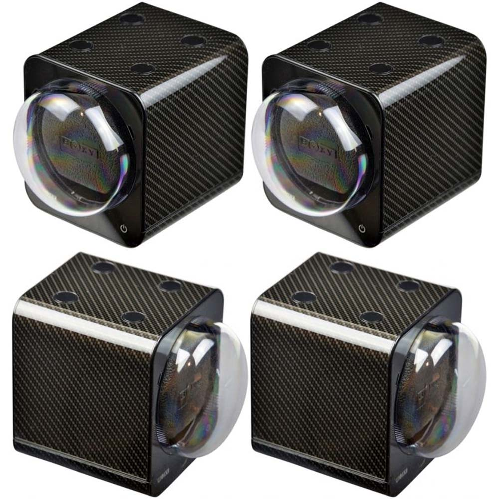 BOXY CARBON FIBRE LOOK Fancy Brick Quad Modular Automatic Watch Winder System: 4FCF-4E4 Brilliant