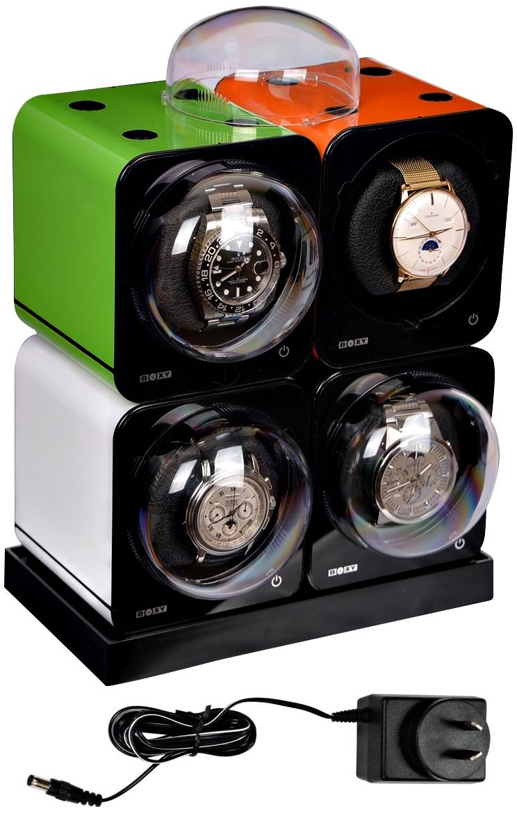 Fancy Brick Quad Automatic Watch Winder system-model: 4FB-E2-CLRS; expandable to 6 -BRILLIANT!