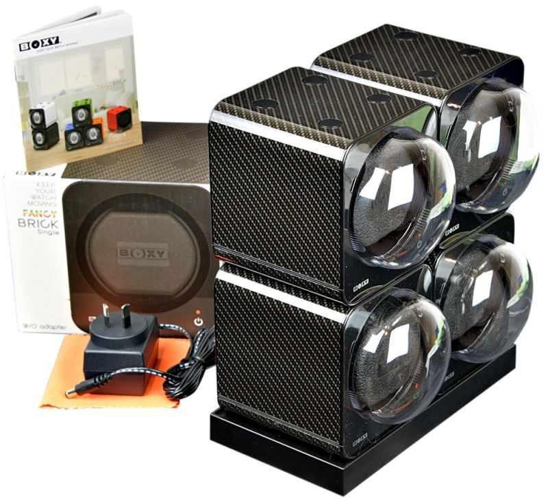 BOXY CARBON FIBRE LOOK Fancy Brick Quad Modular Automatic Watch Winder System: 4FCF-4E2 Brilliant