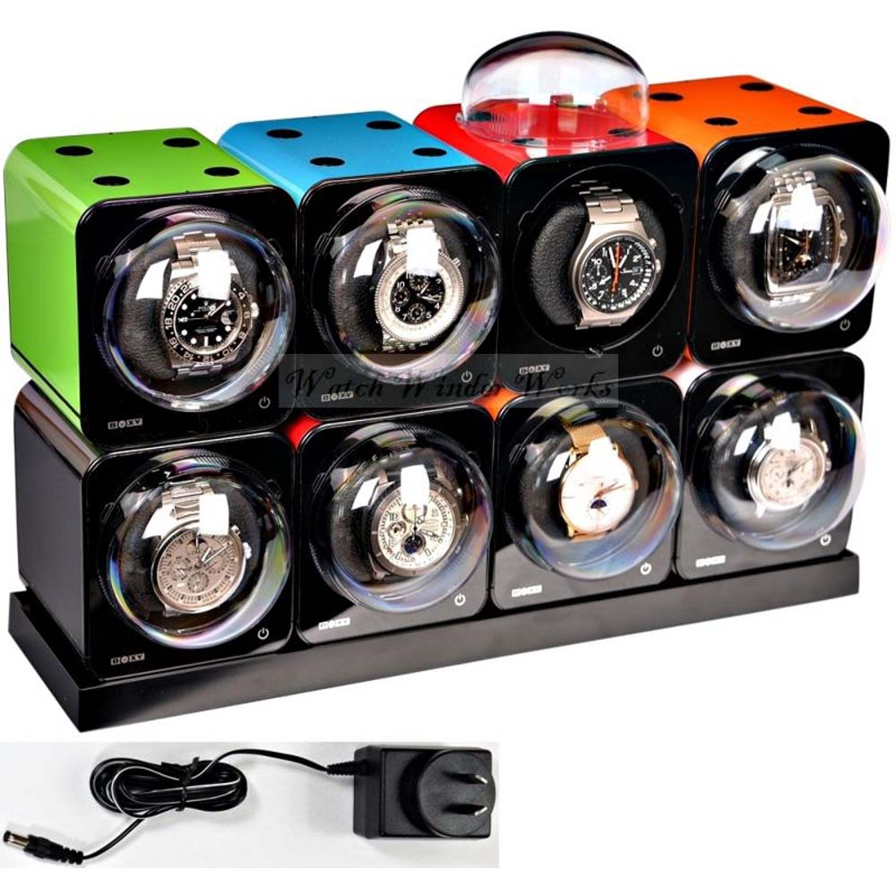 Fancy Brick 8x Automatic Watch Winder system-model: 8FB-E4-CLRS; expandable to 12 -BRILLIANT!