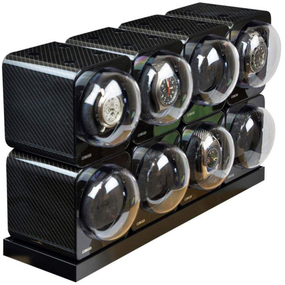 BOXY CARBON FIBRE LOOK Fancy Brick Modular Automatic Watch Winder System 8x: 8FCF-8E4 Brilliant