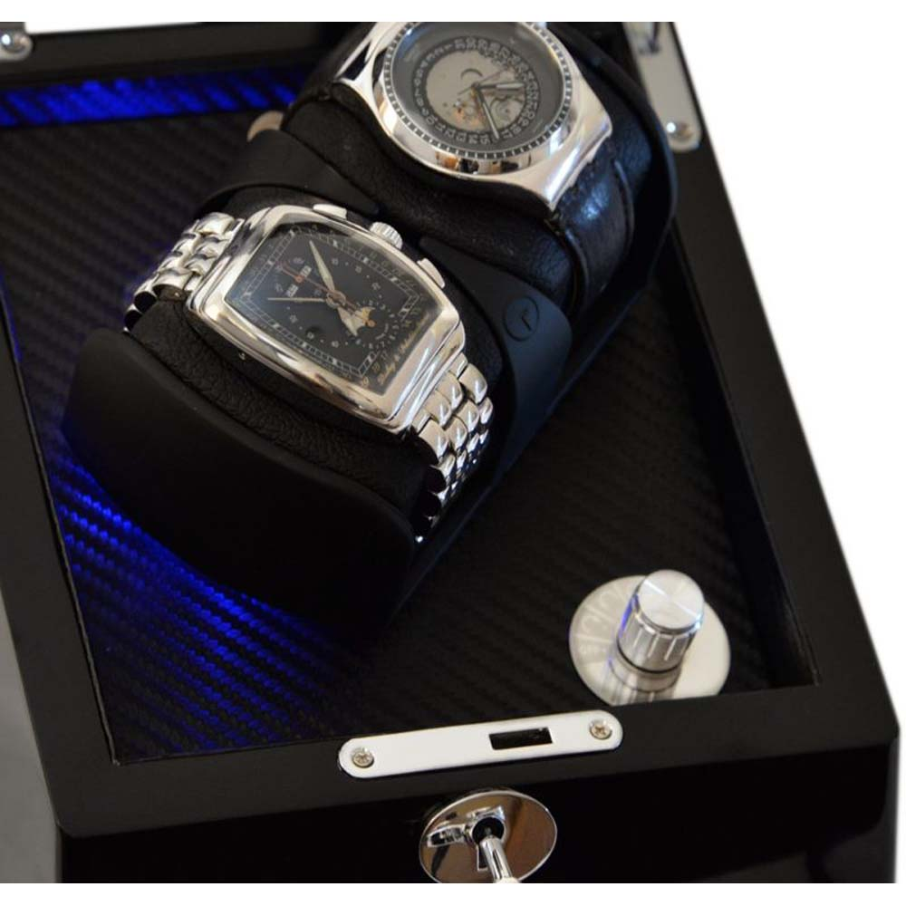 "Luxury Display Dual Automatic Watch Winder -model: Astro-2BKCF-LED ""STAR WARS"""