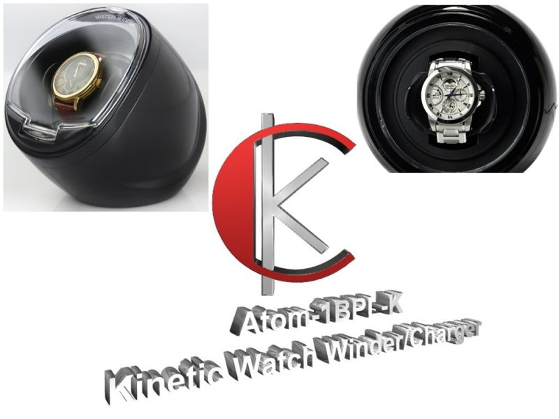 Single Display Kinetic Automatic Watch Winder/Charger in pearlescent Black or Gloss Ivory White- model: Atom-1BPL-K/1WPL-K