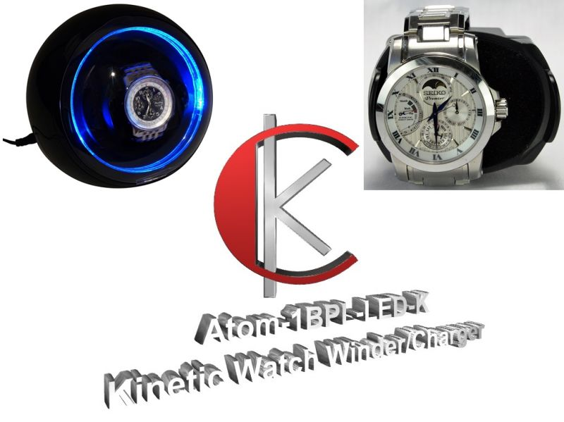 "Single Display Kinetic Automatic Watch Winder/Charger-  model: Atom-1BPL-LED-K ""Star Wars"""