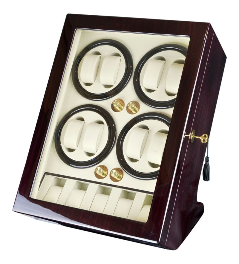 Luxury Display Automatic Watch Winder For 8 Watches and 5 Storage Compartments: BisQuadra-5MC/BW