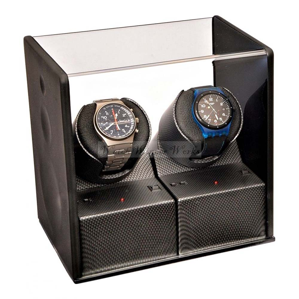 Luxury Display Dual Automatic Watch Winder model:Carbon Velvet-MP2
