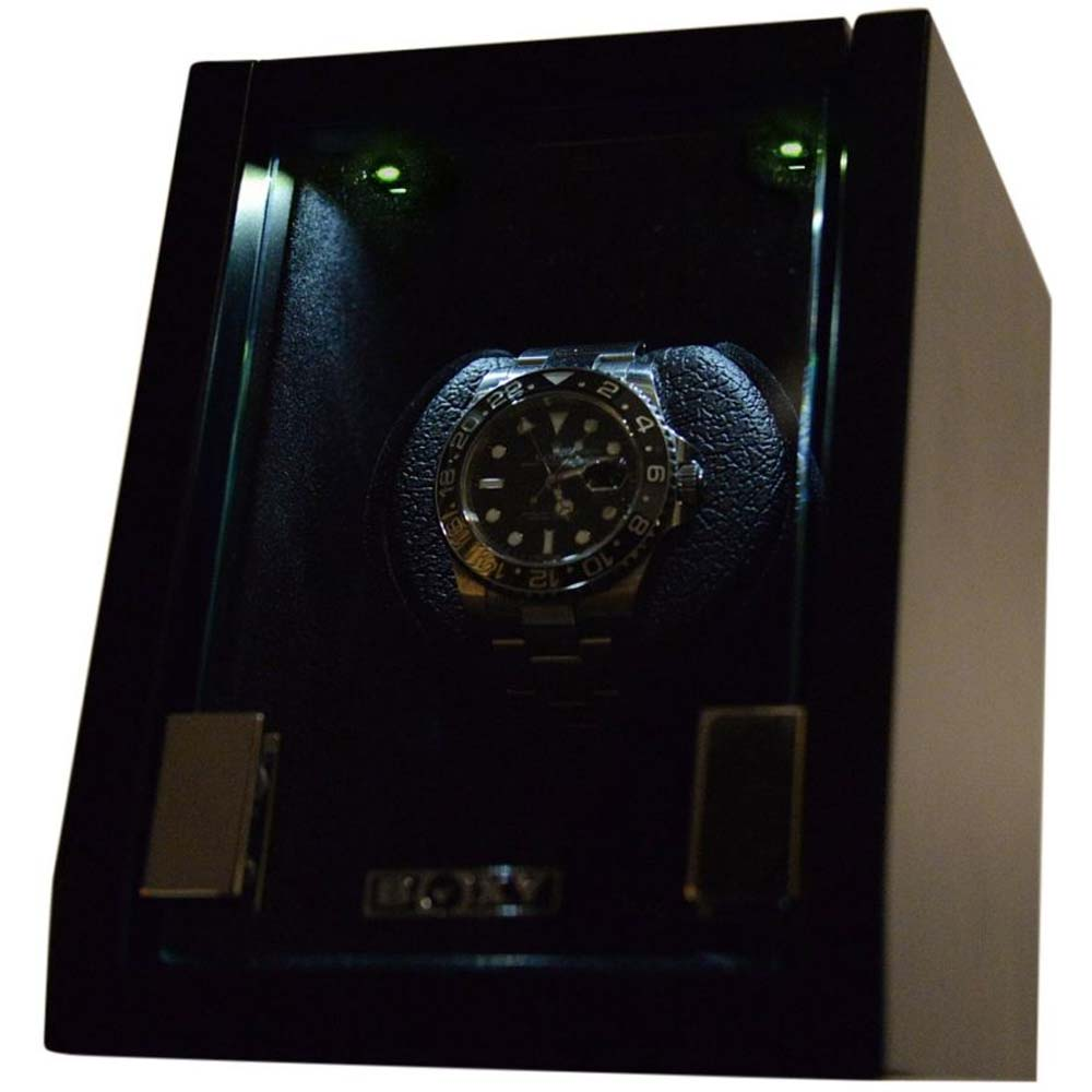 Luxury Display Single Automatic Watch Winder model:Castle-01MB/WM LED Lights