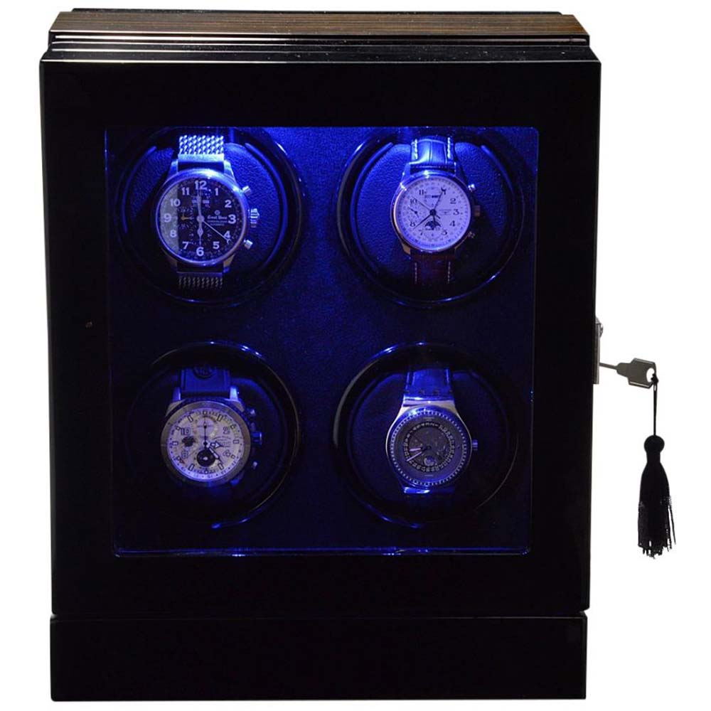 Luxury Display Quad Automatic Watch Winder- model: Chrono Valet-4 LED(RGB) LCD High Tech!