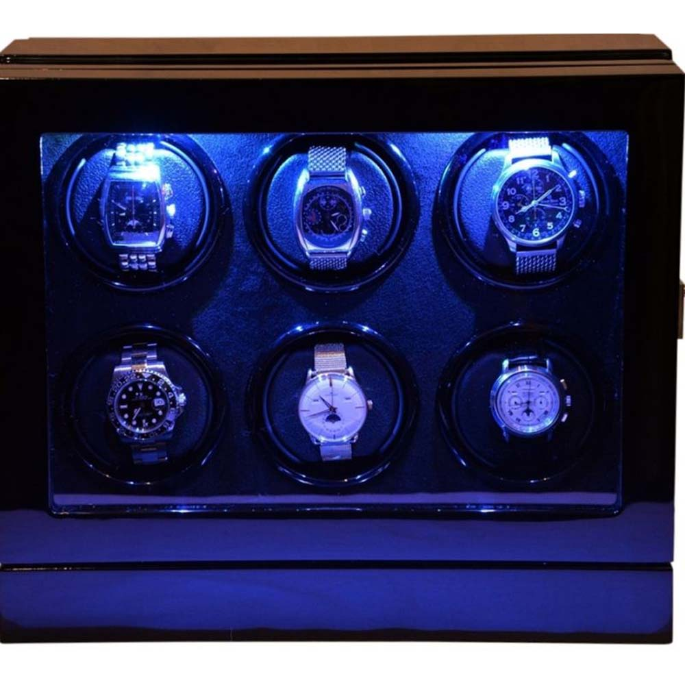 Luxury Display Automatic Watch Winder  for 6 watches;  model: Chrono Valet-6 LED(RGB) LCD High Tech!