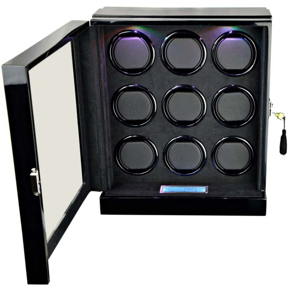 Luxury Display 9x Automatic Watch Winder- model: Chrono Valet-9 LED(RGB) LCD High Tech!