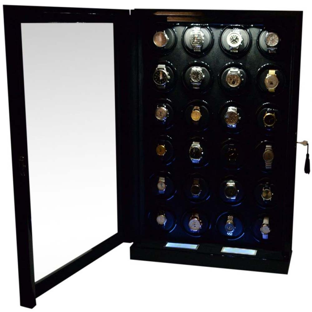 Luxury Display Automatic Watch Winder  for 24  watches; model: Chrono Valet Constellation-24BKBV