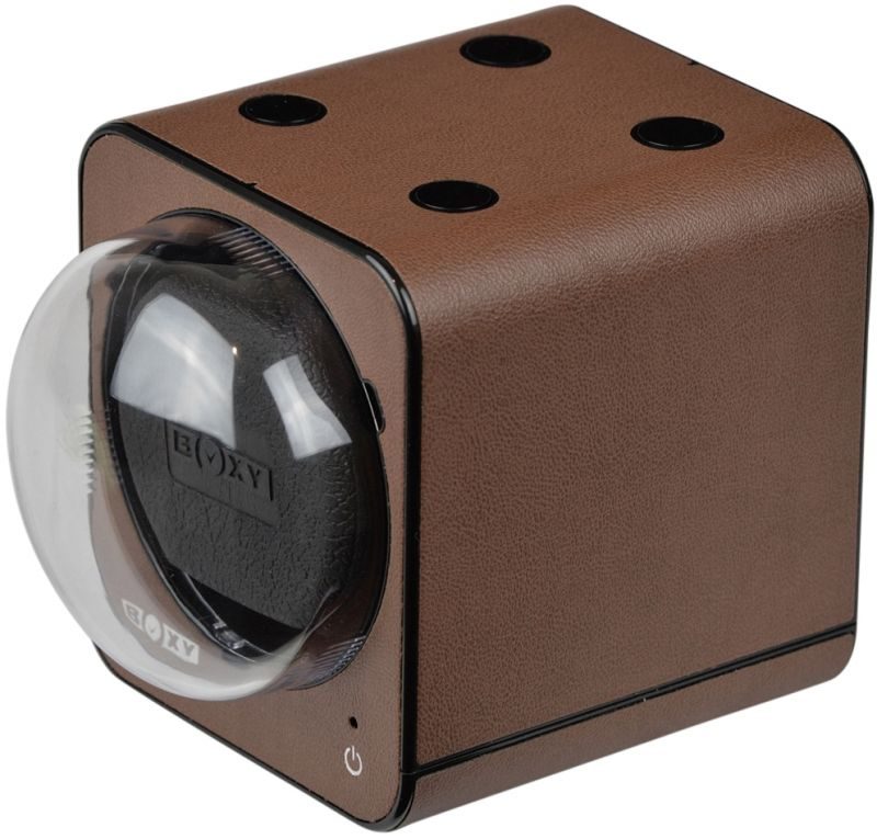 "Add-on  ""BOXY"" Fancy Brick FAUX LEATHER single automatic watch winder : 1FB-LTHR-S (No AC adapter)"