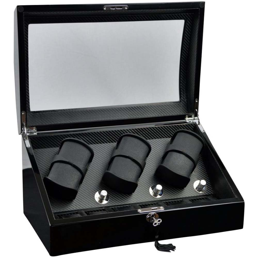 "Luxury Display Automatic Watch Winder for six watches+6 -model: Pluto-6BKCF6-LED ""STAR WARS"""
