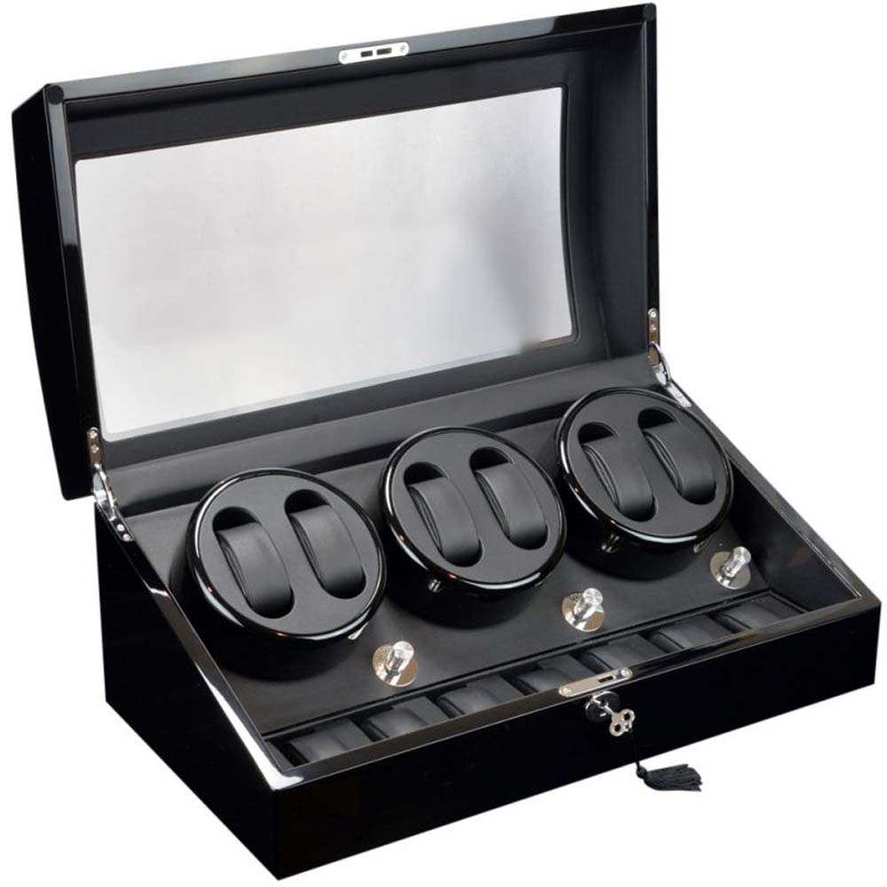 Clearance Sale Luxury Display 6+7 Automatic Watch Winder model: Pluto-6BKLTR7L