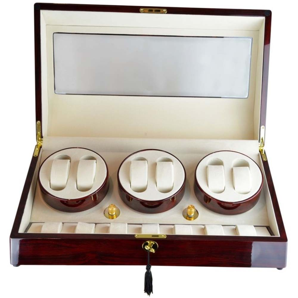 Luxury Display Automatic Watch Winder for 6 watches with 7 storage compartments- model:Pluto-6RWCV7