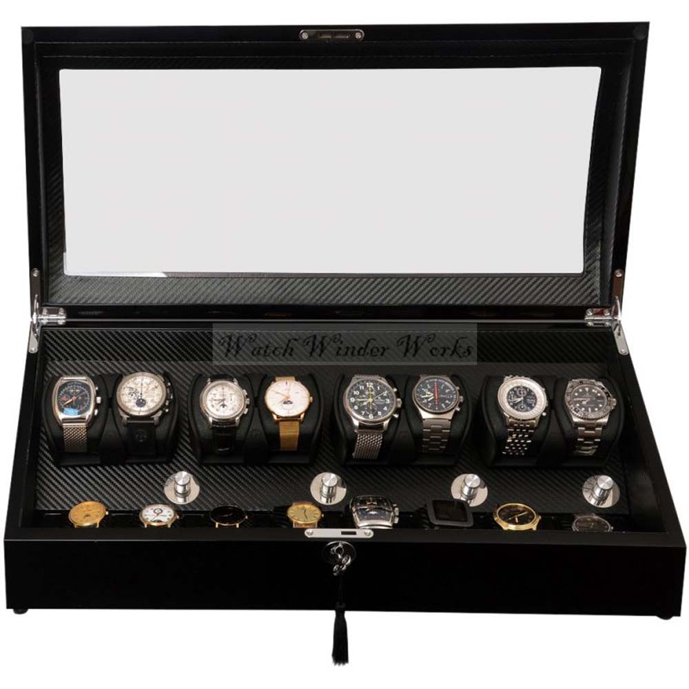 Luxury Display Automatic Watch Winder for eight watches+8 -model:Pluto-8BKCF8-LED-STAR WARS