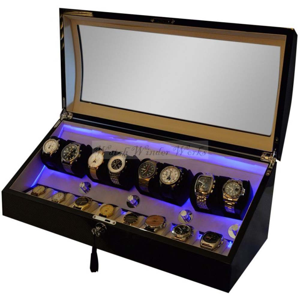 Luxury Display Automatic Watch Winder for 8 watches +8 storage compartments, model: Pluto-8CF8CV-LED