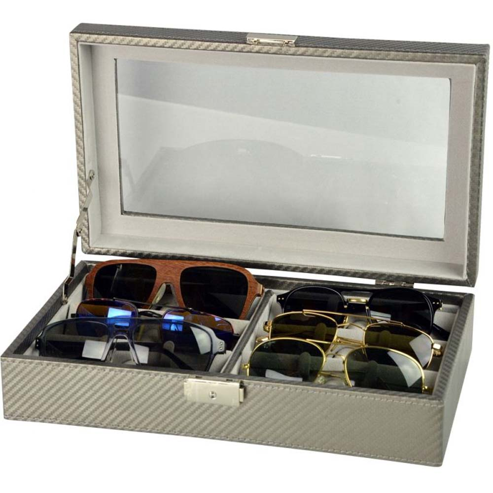 Luxury Display Sunglasses Collection Case for 6 sunglasses-model: SunglassesPro-6CFSLVR/LTHRBK