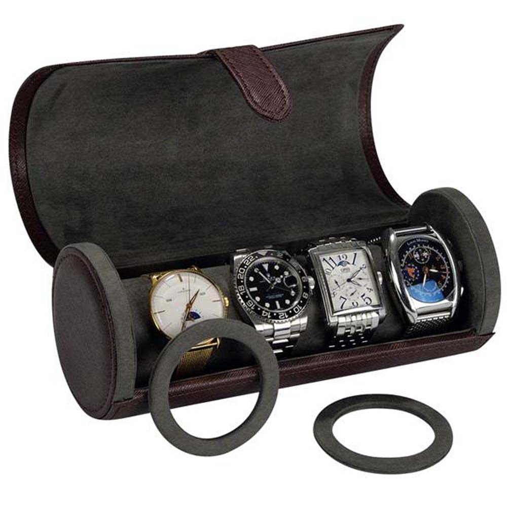 Luxury compact travel watch collection/storage case for 3 watches-Model: WatchPro-3BKCFLTRV/BRLTRGV
