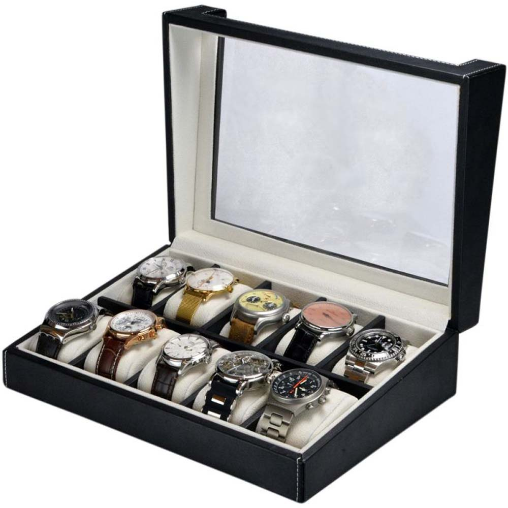 Luxury Display Watch Collection/Storage Box for 10 watches-: WatchPro-10LTRCV Faux Leather