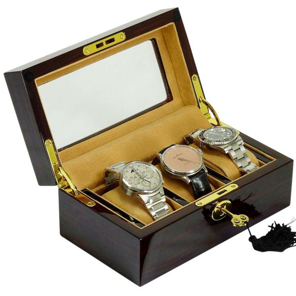 Watchpro-3WNCOV Luxury Display Watch Collection/Storage Box for 3 watches