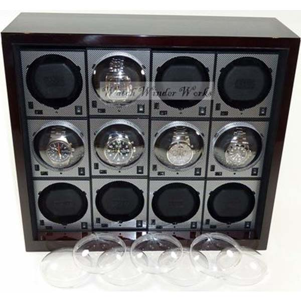 """BOXY"" Watch Winder System for 12 Watches - 12TH (in Mahogany Gloss or Silk Sheen Black)"