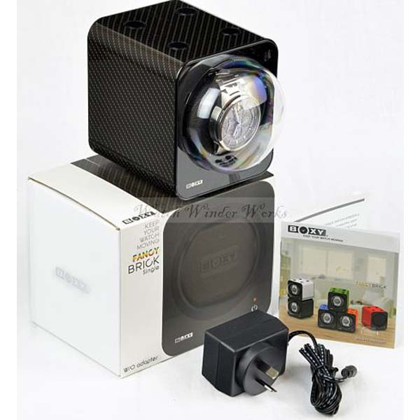BOXY Fancy Brick Carbon Fibre look single automatic watch winder:  model 1FB-CF-F starter set