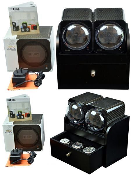 BOXY CARBON FIBRE LOOK Fancy Brick Dual Modular Automatic Watch Winder System: 2FCF-2B2 Brilliant