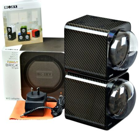 BOXY CARBON FIBRE LOOK Fancy Brick Dual Automatic Watch Winder:2FCF-2B Brilliant