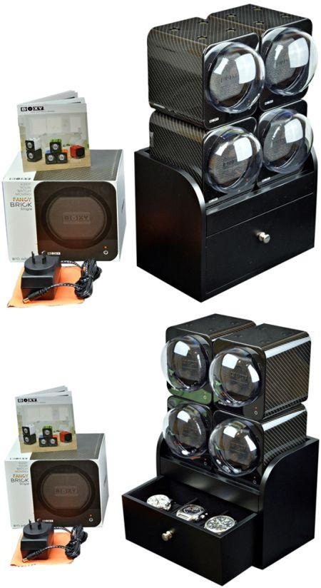 BOXY CARBON FIBRE LOOK Fancy Brick Quad Modular Automatic Watch Winder System: 4FCF-4B2 Brilliant
