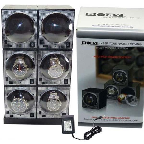 Luxury Display Boxy Brick Automatic watch winder system for 6 watches: -6E2