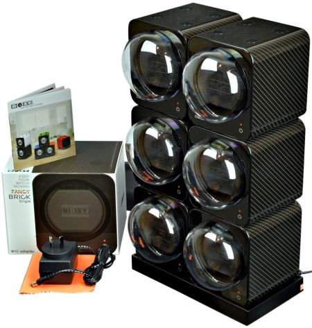 BOXY CARBON FIBRE LOOK Fancy Brick 6x Automatic Modular Watch Winder System: 6FCF-6E2-Brilliant!
