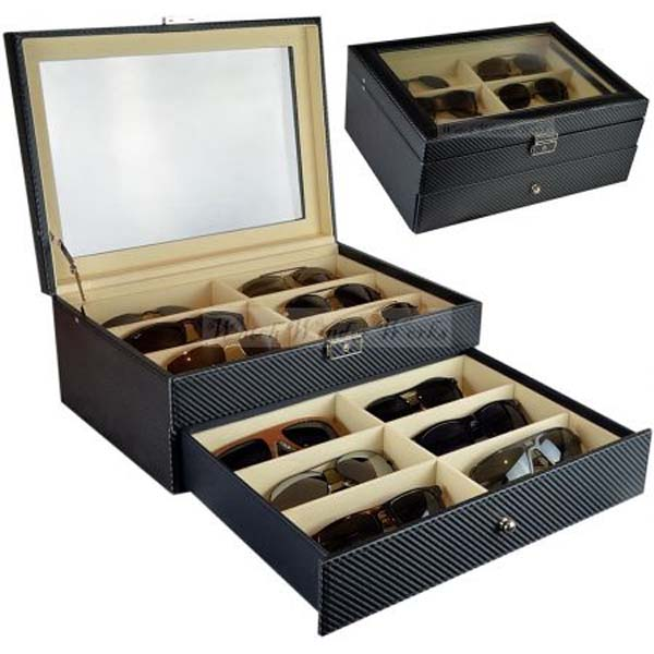 Luxury Display Sunglasses Collection Case for 12 sunglasses-model: SunglassesPro-12LD