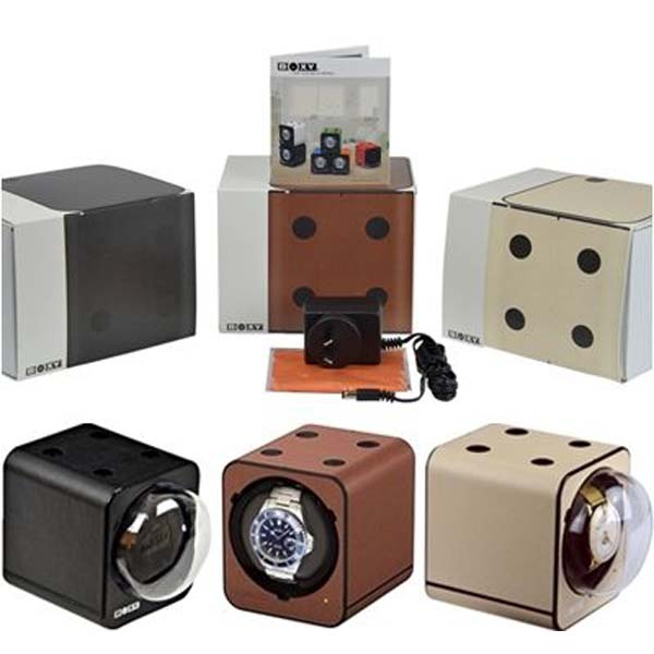 """BOXY"" Fancy Brick FAUX LEATHER single automatic watch winder: 1FB-LTHR-F (includes AC adapter)"