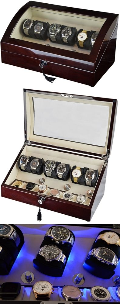 Luxury Automatic Watch Winder for 6 watches with 6 storage compartments, model:Pluto-6MHCV6-LED