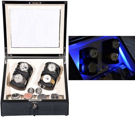 "Luxury Display Quad Automatic Watch Winder +4 -model: Solaris-4CF4 ""Star Wars"" LED"