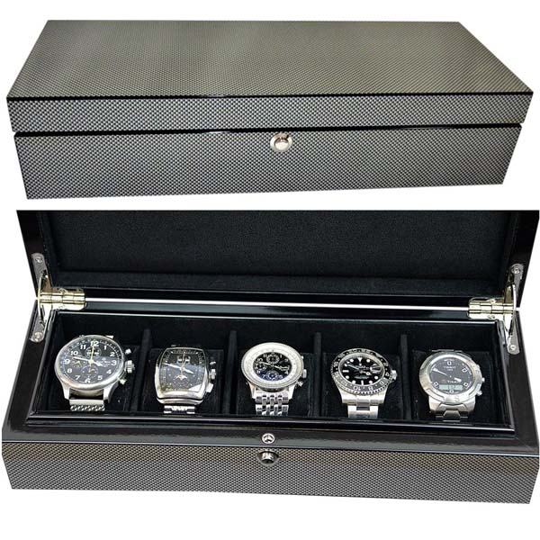Watchpro5-CF Luxury Super High Gloss Carbon Fibre Look Watch Storage Box for 5 watches